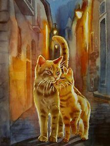 """""""Cat-Romance"""" - Katze - Aquarell Original"""