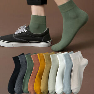 1/4 Pairs Mens Womens Cotton Ankle Socks Classic Casual Dress Crew Socks 8 Color