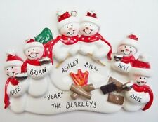 Personalized Snowman Camping Family of 6 Christmas Ornament