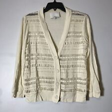 3.1 Philip Lim Cutout Tribal Eyelet Off White Cardigan Size M