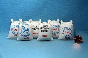 Dollhouse Miniature General Store Food Sacks for Farm House Set of 6 IM66000