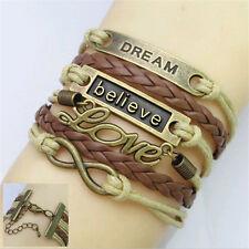 Vintage Leather DREAM Believe Love Friendship Woven Bangle U Pick Charm Bracelet