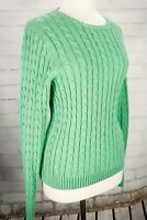 L.L. Bean Cable Knit Sweater Pullover, Crewneck Women's Medium 100% Cotton Green