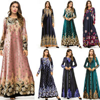 Muslim Women Print Long Maxi Dress Vintage Ladies Islamic Kaftan Jilbab Robe New