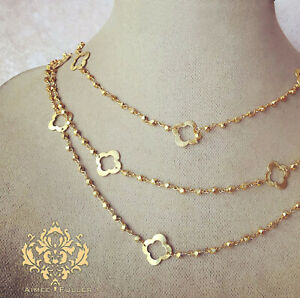 Aimee Fuller Quatrefoil Brass Chain Gold Finish Nuggets Clover 3 Strand Necklace