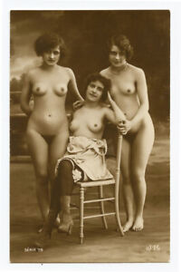 1910s French Risque Nude GORGEOUS GALS Pretty Lady Nice image photo postcard