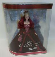 2002 Holiday Celebration Barbie Doll in Burgundy Velvet Dress MIB NRFB