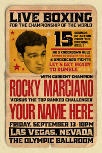 YOUR NAME on a Boxing champ poster vs Rocky Marciano - personalized & cool