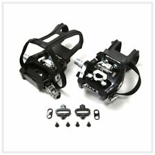 "SBDs Indoor Cycle SPIN Bike Pedals W/SPD CLEATS Toe Clip 9/16"" SHAFT Xtra Heavy"