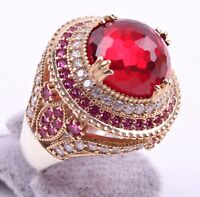 Turkish Handmade Showy 925 Silver Ruby Stone Ladies Woman Ring ALL SİZE us