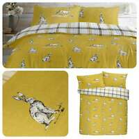 Fusion HARE Ochre Yellow Reversible Checked  Easy Care Duvet Cover Set