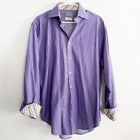 THOMAS DEAN Mens Long Sleeve Striped Button-Down Flip Cuff Shirt Size Large L
