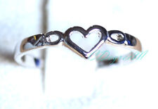 18K W Gold GP Silver Love Heart Thumb Pinky Ring All Size Stackable Celeb Style