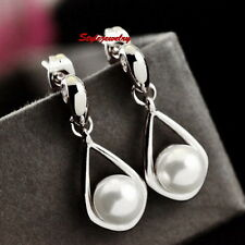White Gold Filled Silver Tone Bridal White Pearl Bridal Teardrop Earring XE128