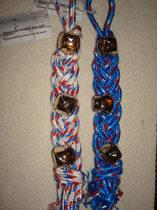 """Handcrafted Rope Dog Training POTTY BELLS Sleigh Bells 15"""", 22"""",30"""" BLUE WHITE"""