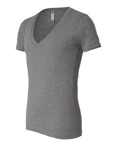 Canvas Adult Unisex Short Sleeve Cotton Deep V-Neck T-Shirt - 3105