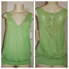 NWT Women's Sugar Tart Green Crochet Back Top Size Medium Very Nice LQQK $34 FS!