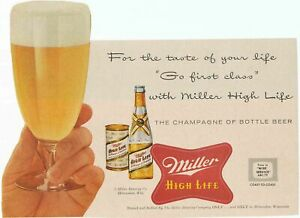 """MILLER HIGH LIFE CHAMPAGNE BEER 30"""" HEAVY DUTY USA MADE METAL ADVERTISING SIGN"""