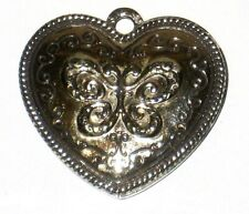 Silver Heart Locket Double Picture Ornate Filigree Floral Etched Pendant