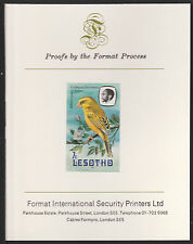 Lesotho (496) 1981 Yellow Canary 7s imperf on Format International PROOF  CARD