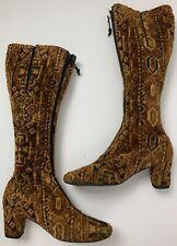 Vintage 60'S Tapestry Knee High Boots Earthtones Front Zipper Boho Hippie 7.5N