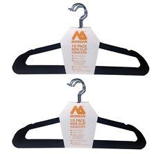 VELVET NON-SLIP STEEL CLOTH HANGERS 2 x 10Pcs Swivel Hook, Fabric Coating