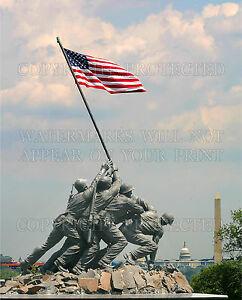 8x10 photo US Marine Corps Iwo Jima Memorial Arlington VA flag Capitol Wash. Mon