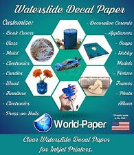 "INKJET waterslide decal paper CLEAR, 8.5"" x 11""  1 sheet"