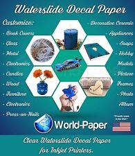 """Inkjet waterslide decal paper CLEAR, 8.5"""" x 11"""" 1 sheet :)"""