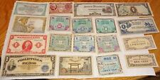 18 DIFFERENT WWII ORIGINAL BANKNOTES, MILITARY CURRENCY & JIM - SUPER CONDITION