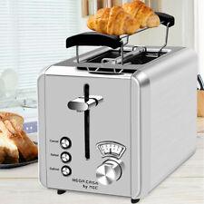 Toaster 2 Scheiben Edelstahl Brötchenaufsatz Aufwärmfunktion Krümelschublade