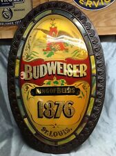 Large Anheuser Busch Budweiser Beer 1876 Bubble Oval Bar Sign 32X20 Hard To Find