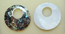 "1.5"" Round MOP Mosaic Abalone Shell Reversible INTERCHANGEABLE Donut Pendant"