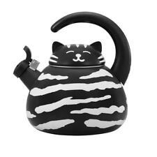 Black Cat Whistling Tea Kettle 2 Quart Stainless Steel Enamel Finish