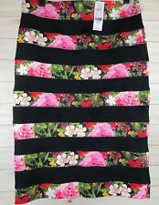 NWT New York & Company 7th Avenue Pencil Skirt Size M Pink Floral & Black Lace