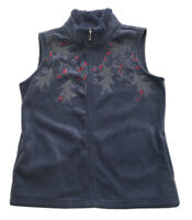 Croft & Barrow Holiday Holly and Berry Fleece Vest Full Zip Blue Gray XS NWT $40