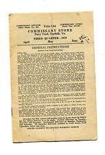 Vintage US NAVY COMMISSARY STORE 1919 Q3 Price List Norfolk VA Navy Yard