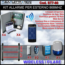 Kit allarme ibrido in box di metallo filare / wireless 868 mhz barriere esterno