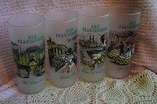 """Set of 4 Vintage Old Plantations Slavery Southern Frosted Drinking Glasses 6.5"""""""
