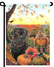 black Pug Garden Flag Thanksgiving Halloween Pumpkin Art Autumn outdoor decor