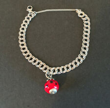 Vintage James Avery Sterling Silver Charm Bracelet w/ Glass Avery Ladybug Charm