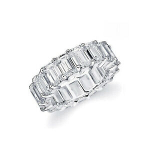 Sevil 18K White Gold Plated Emerald-Cut Cubic Zirconia Eternity Band Ring