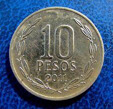 CHILE,  10 PESOS 2011, ERROR STRUCK WITH 2 REVERSES DIES, UNIQUE PIECE