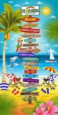 """30"""" X 60""""  Florida Beach Signs Velour Beach Towel 100% Cotton"""