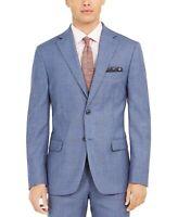Tallia Orange Men's Slim-Fit Stretch Blue Plaid Sport Coat 36S