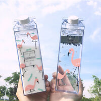 500ml Flamingos Cartoon Water Milk Box Drink Bottle Cup Outdoor Sports Cycling