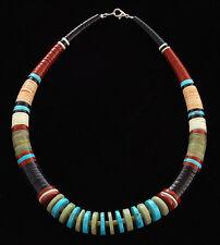 Native American Handmade Multi-Stone Bead Necklace Santo Domingo Pueblo