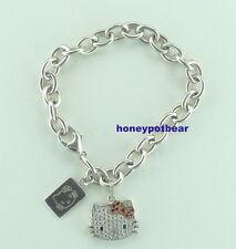 "QVC Hello Kitty Diamonique Sterling Silver ""Klassic Kitty"" Charm Bracelet EUC"