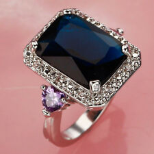 Elegant Jewelry Set Sapphire Quartz Gemstone Silver Lady Wedding Ring Accessory