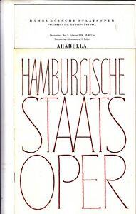 Opera Programme 1956 Hamburg Opera Arabella Clara Ebers Hermann Prey Bollinger
